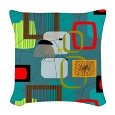 Mid-Century Modern Abstract Woven Throw Pillow