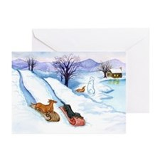 Sledding Dachshunds Greeting Cards (Pk of 10)
