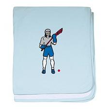 Lacrosse Player baby blanket