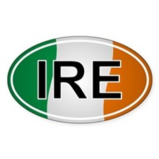 Ire - Ireland Oval Car Sticker Flag Design