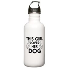 This girl loves her dog t-shirts Water Bottle