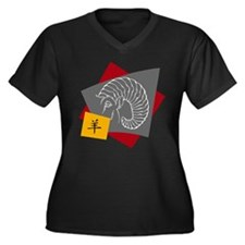 Chinese Zodi Women's Plus Size V-Neck Dark T-Shirt
