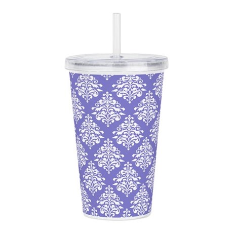 Damask Lavender Acrylic Double-wall Tumbler