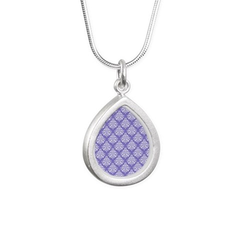 Damask Lavender Silver Teardrop Necklace