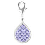 Damask Lavender Silver Teardrop Charm