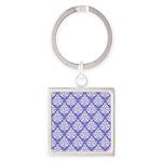 Damask Lavender Square Keychain