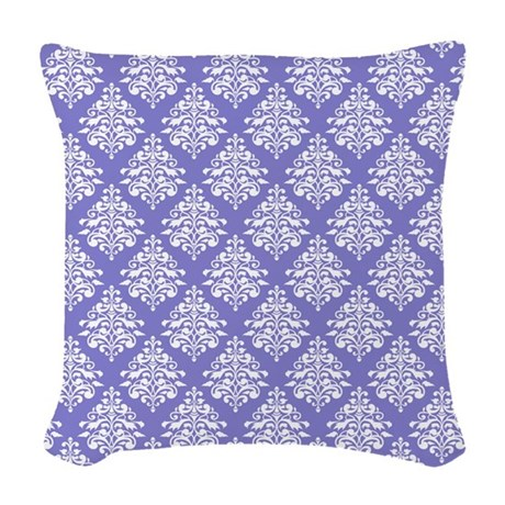 Damask Lavender Woven Throw Pillow