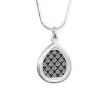 Damask black white Silver Teardrop Necklace