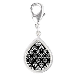 Damask black white Silver Teardrop Charm