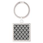 Damask black white Square Keychain
