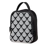 Damask black white Neoprene Lunch Bag