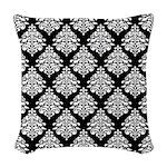 Damask black white Woven Throw Pillow