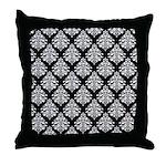 Damask black white Throw Pillow