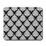 Damask black white Mousepad