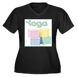 Yoga Baby Blocks Women's Plus Size V-Neck Dark T-S