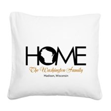 Wisconsin Home Square Canvas Pillow