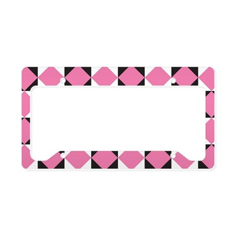 Pink Black Diamond checkerboard License Plate Hold