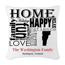 Vermont Text Woven Throw Pillow