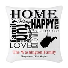 West Virginia Text Woven Throw Pillow