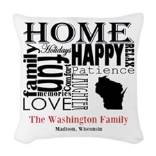 Wisconsin Text Woven Throw Pillow
