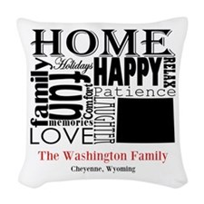 Wyoming Text Woven Throw Pillow