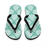 Damask green white Flip Flops