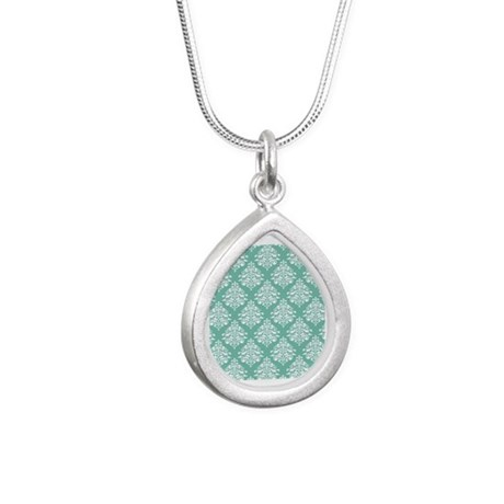 Damask green white Silver Teardrop Necklace