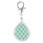 Damask green white Silver Teardrop Charm