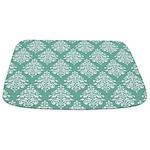 Damask green white Bathmat