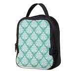 Damask green white Neoprene Lunch Bag