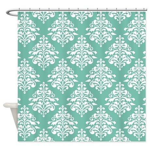 Damask green white Shower Curtain