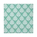 Damask green white Queen Duvet
