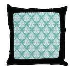 Damask green white Throw Pillow