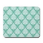 Damask green white Mousepad