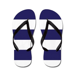 Nautical Navy Blue Stripes Flip Flops
