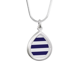 Nautical Navy Blue Strip Silver Teardrop Necklace