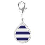 Nautical Navy Blue Stripes Silver Teardrop Charm