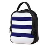 Nautical Navy Blue Stripes Neoprene Lunch Bag