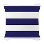 Nautical Navy Blue Stripes Woven Throw Pillow