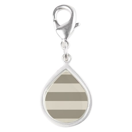 Tan Stripes Silver Teardrop Charm