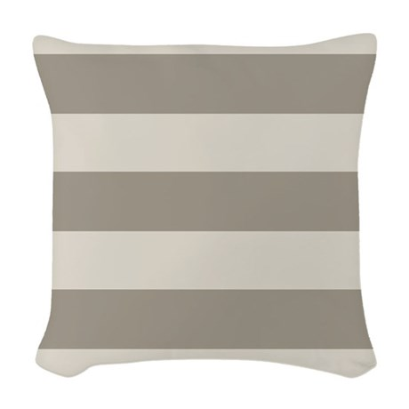 Tan Stripes Woven Throw Pillow