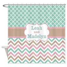 Teal Pink Quatrefoil Chevron Personalized Shower Curtain