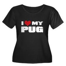 I Heart My Pug Plus Size T-Shirt