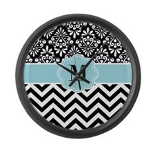 Black Blue Chevron Damask Monogram Large Wall Clock