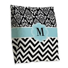 Black Blue Chevron Damask Monogram Burlap Throw Pillow