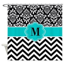 Black Teal Damask Chevron Shower Curtain