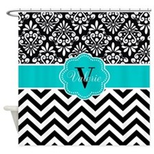 Black Teal Chevron Damask Personalized Shower Curt