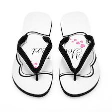 Personalizable Pink Hearts in Black Flip Flops