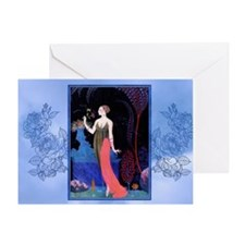 Barbier Night Roses Greeting Cards