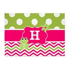 Pink Green Chevron Frog Personalized 5'x7'Area Rug
